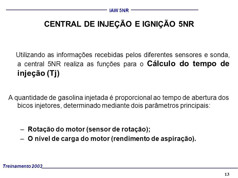 14 Treinamento 2003 IAW 5NR O RENDIMENTO DE ASPIRAÇÃO É CALCULADO : Pela medida da pressão absoluta no coletor de admissão; Pela correção em função da temperatura do ar; Pela correção da Patm.; Pelo avanço de ignição do motor.