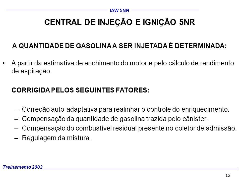 15 Treinamento 2003 IAW 5NR CENTRAL DE INJEÇÃO E IGNIÇÃO 5NR A QUANTIDADE DE GASOLINA A SER INJETADA É DETERMINADA: A partir da estimativa de enchimen