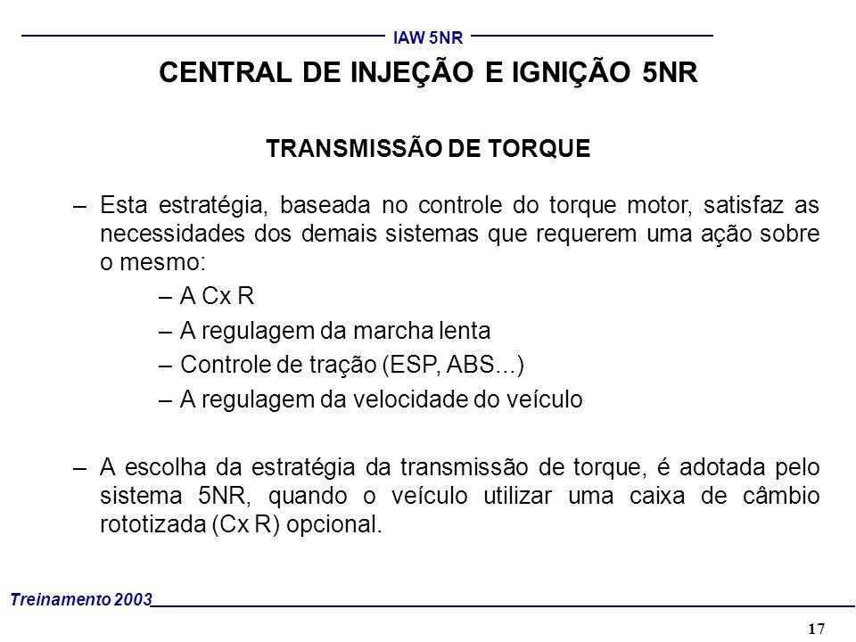 17 Treinamento 2003 IAW 5NR TRANSMISSÃO DE TORQUE –Esta estratégia, baseada no controle do torque motor, satisfaz as necessidades dos demais sistemas