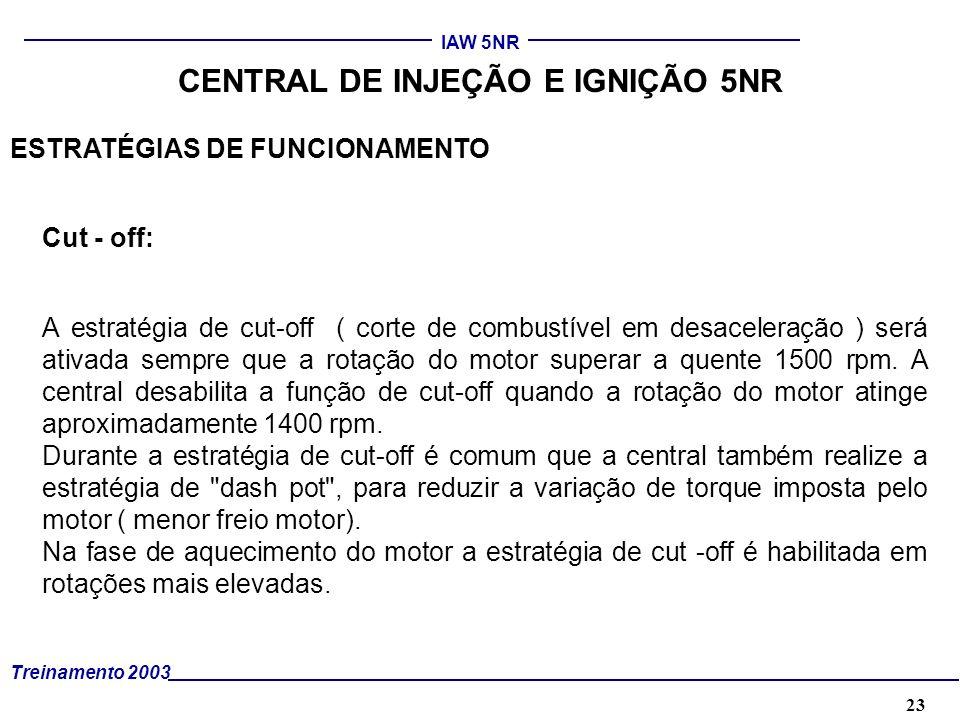 23 Treinamento 2003 IAW 5NR CENTRAL DE INJEÇÃO E IGNIÇÃO 5NR ESTRATÉGIAS DE FUNCIONAMENTO Cut - off: A estratégia de cut-off ( corte de combustível em
