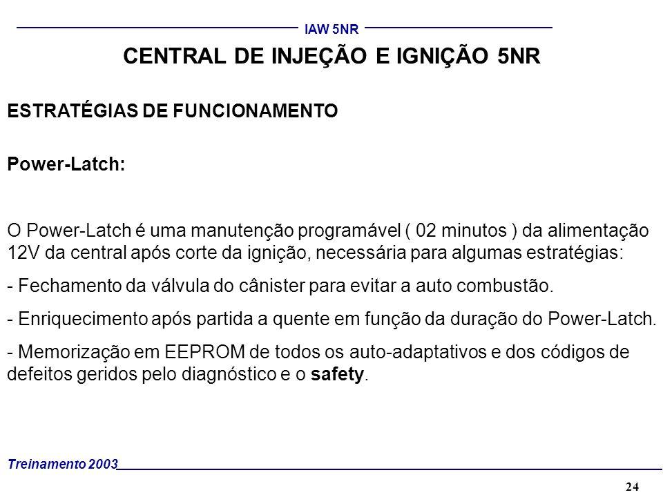 24 Treinamento 2003 IAW 5NR CENTRAL DE INJEÇÃO E IGNIÇÃO 5NR ESTRATÉGIAS DE FUNCIONAMENTO Power-Latch: O Power-Latch é uma manutenção programável ( 02
