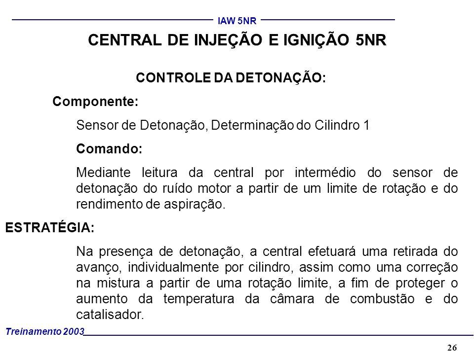 26 Treinamento 2003 IAW 5NR CENTRAL DE INJEÇÃO E IGNIÇÃO 5NR CONTROLE DA DETONAÇÃO: Componente: Sensor de Detonação, Determinação do Cilindro 1 Comand