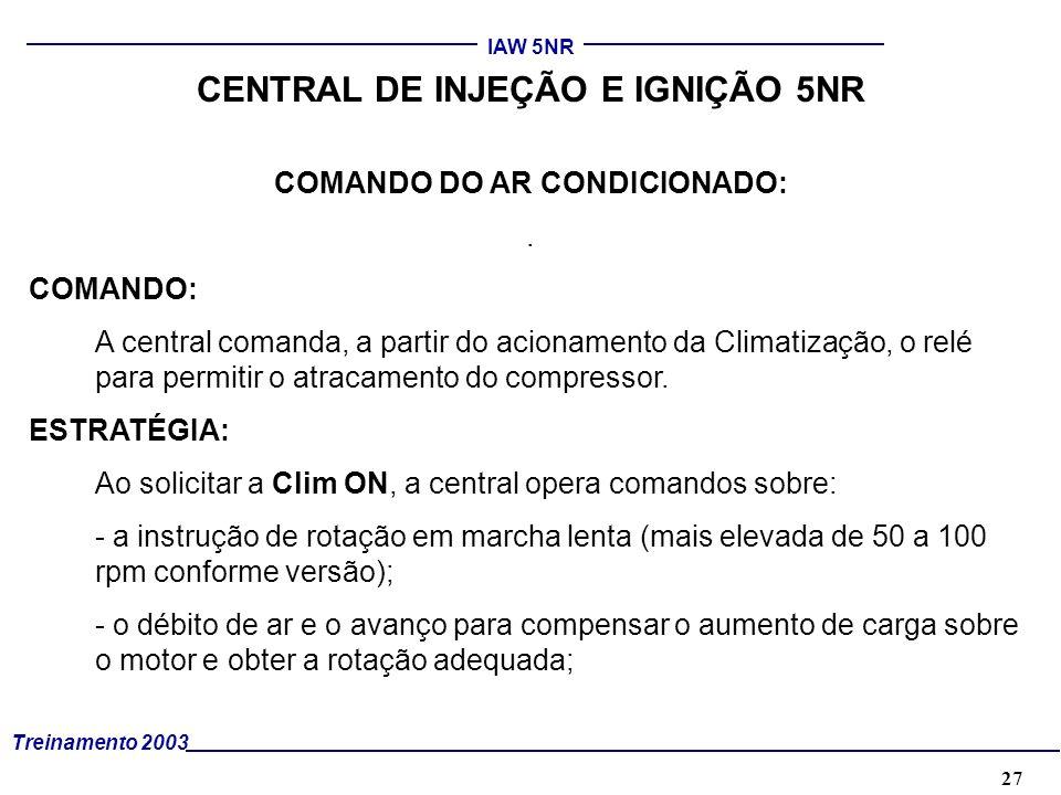 27 Treinamento 2003 IAW 5NR CENTRAL DE INJEÇÃO E IGNIÇÃO 5NR COMANDO DO AR CONDICIONADO:. COMANDO: A central comanda, a partir do acionamento da Clima