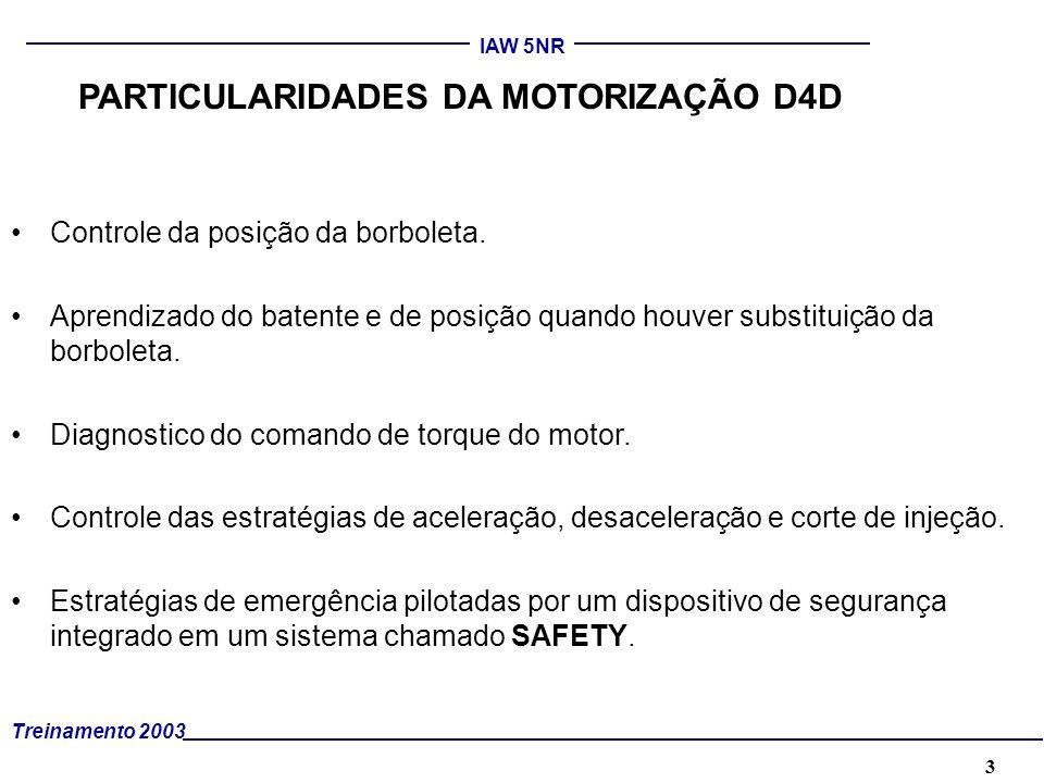 3 Treinamento 2003 IAW 5NR PARTICULARIDADES DA MOTORIZAÇÃO D4D Controle da posição da borboleta. Aprendizado do batente e de posição quando houver sub