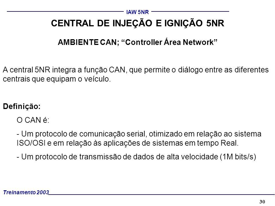 30 Treinamento 2003 IAW 5NR CENTRAL DE INJEÇÃO E IGNIÇÃO 5NR AMBIENTE CAN; Controller Área Network A central 5NR integra a função CAN, que permite o d
