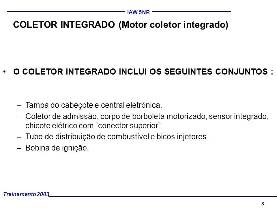 8 Treinamento 2003 IAW 5NR COLETOR INTEGRADO (Motor coletor integrado) O COLETOR INTEGRADO INCLUI OS SEGUINTES CONJUNTOS : –Tampa do cabeçote e centra