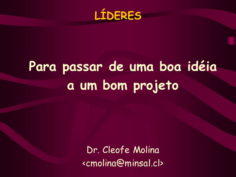 LÍDERES Para passar de uma boa idéia a um bom projeto Dr. Cleofe Molina