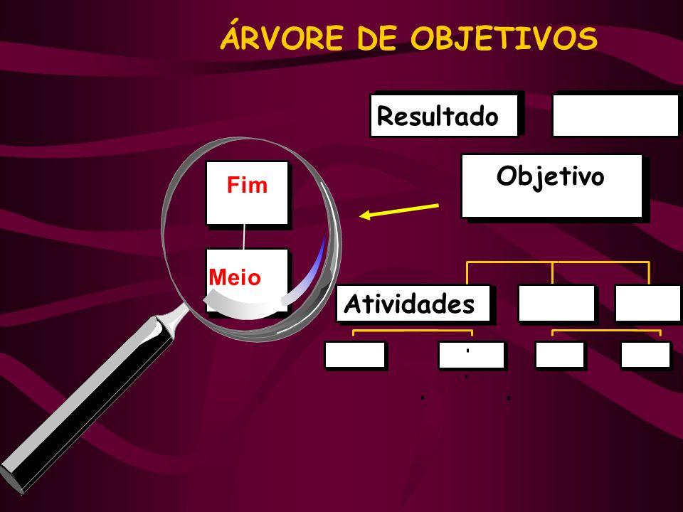 ÁRVORE DE OBJETIVOS Fim Meio Objetivo Atividades Resultado
