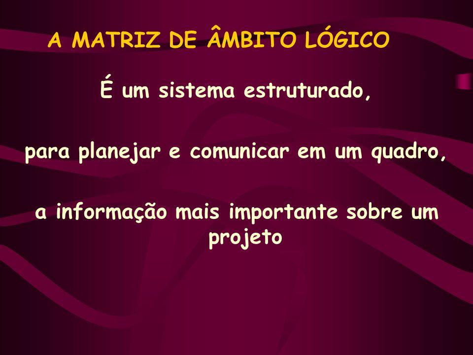 A MATRIZ DE ÂMBITO LÓGICO É um sistema estruturado, para planejar e comunicar em um quadro, a informação mais importante sobre um projeto