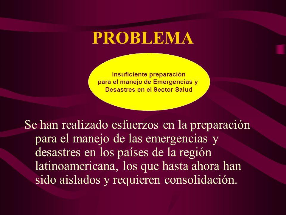 PROBLEMA Se han realizado esfuerzos en la preparación para el manejo de las emergencias y desastres en los países de la región latinoamericana, los que hasta ahora han sido aislados y requieren consolidación.