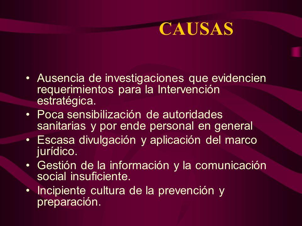 CAUSAS Ausencia de investigaciones que evidencien requerimientos para la Intervención estratégica.