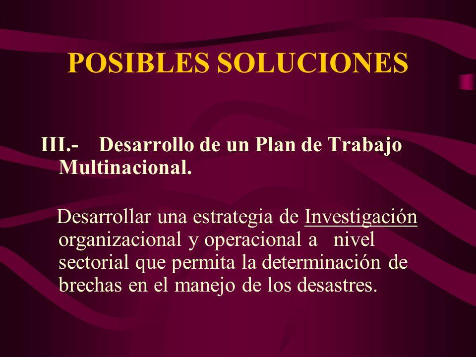 POSIBLES SOLUCIONES III.- Desarrollo de un Plan de Trabajo Multinacional. Desarrollar una estrategia de Investigación organizacional y operacional a n
