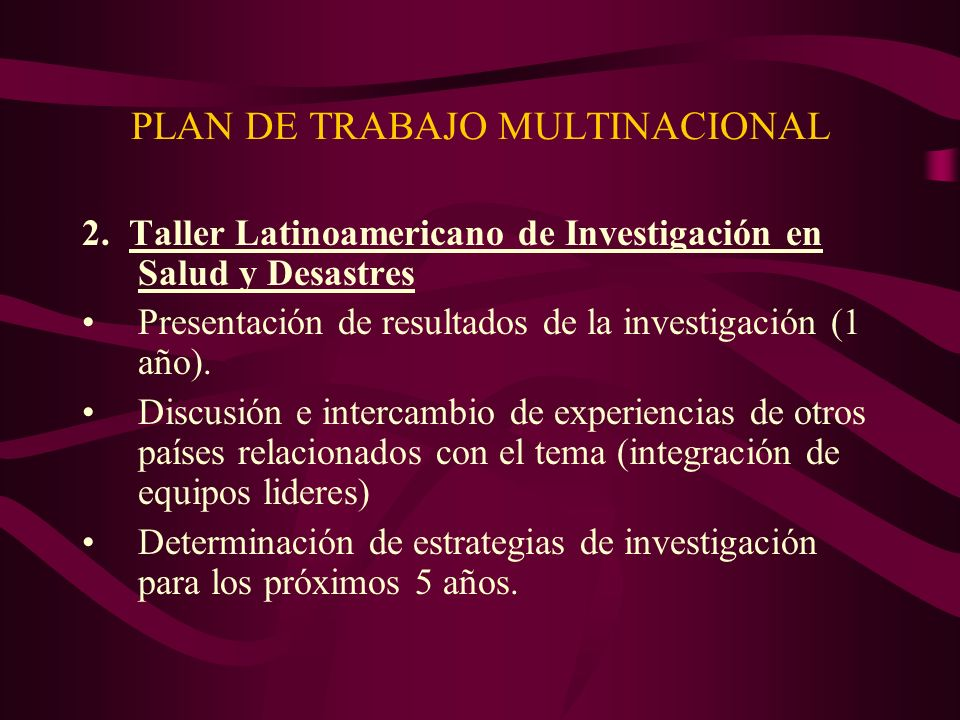 PLAN DE TRABAJO MULTINACIONAL 2.