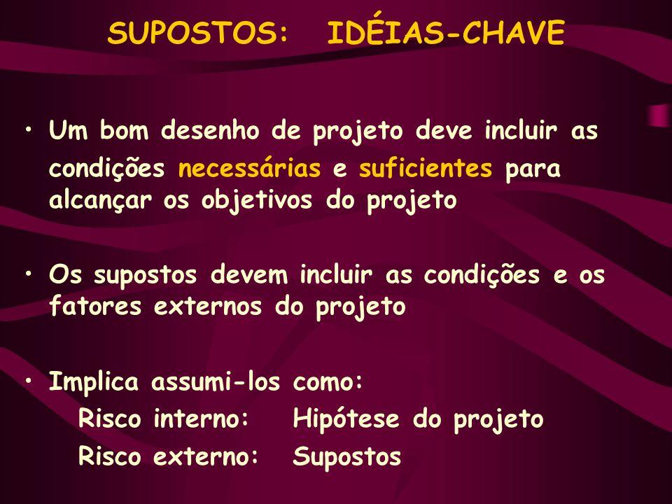 SUPOSTOS: IDÉIAS-CHAVE Um bom desenho de projeto deve incluir as condições necessárias e suficientes para alcançar os objetivos do projeto Os supostos
