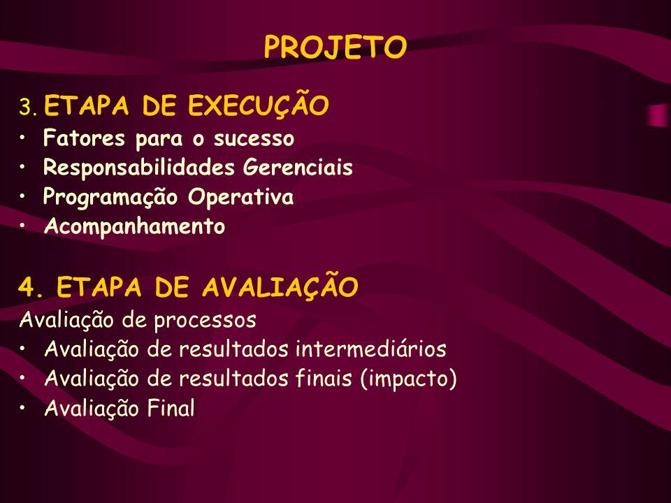PROJETO 3. ETAPA DE EXECUÇÃO Fatores para o sucesso Responsabilidades Gerenciais Programação Operativa Acompanhamento 4. ETAPA DE AVALIAÇÃO Avaliação