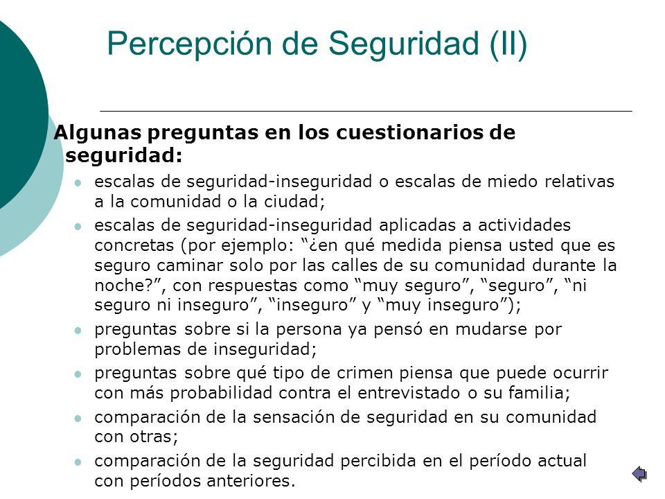 Percepción de Seguridad (II) Algunas preguntas en los cuestionarios de seguridad: escalas de seguridad-inseguridad o escalas de miedo relativas a la c