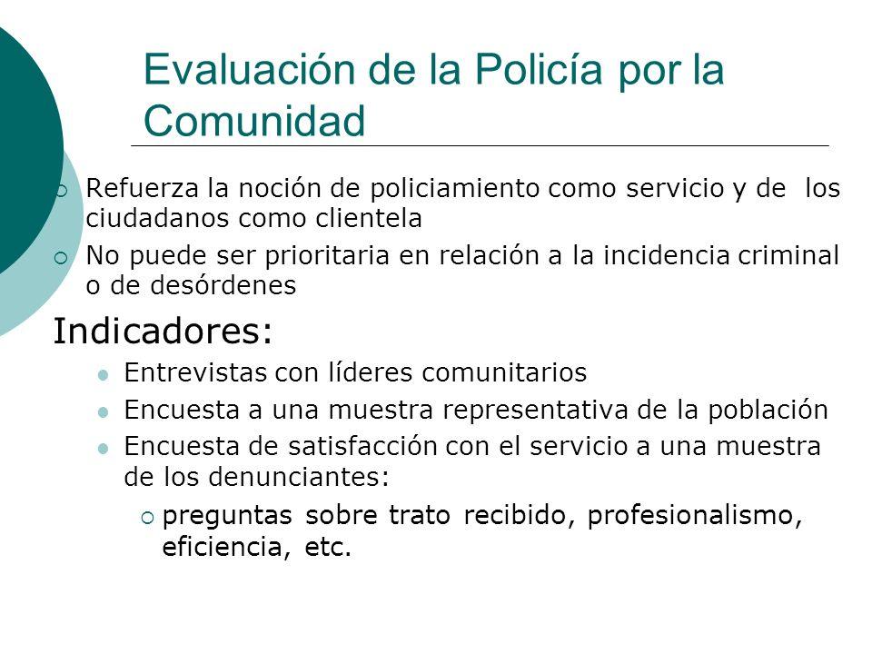 Evaluación de la Policía por la Comunidad Refuerza la noción de policiamiento como servicio y de los ciudadanos como clientela No puede ser prioritari