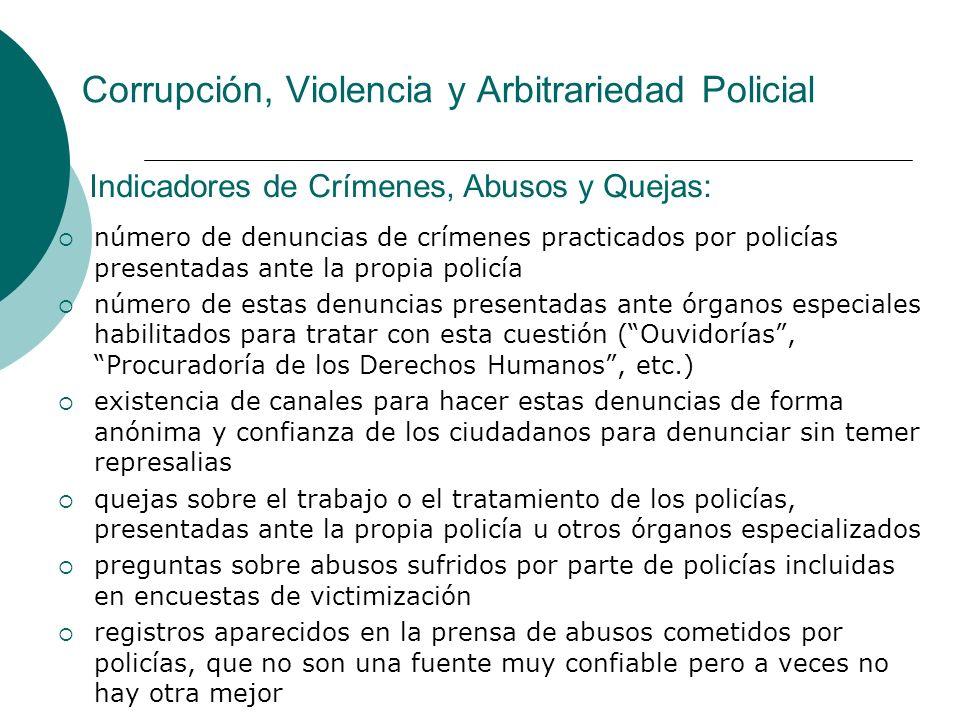 Corrupción, Violencia y Arbitrariedad Policial número de denuncias de crímenes practicados por policías presentadas ante la propia policía número de e
