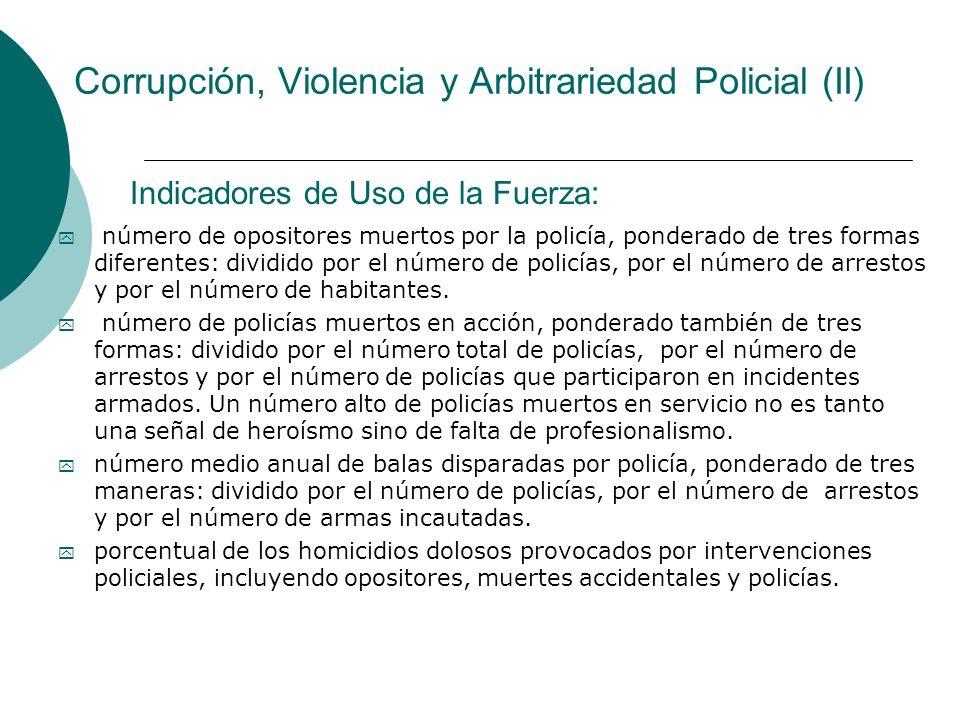 Corrupción, Violencia y Arbitrariedad Policial (II) y número de opositores muertos por la policía, ponderado de tres formas diferentes: dividido por e