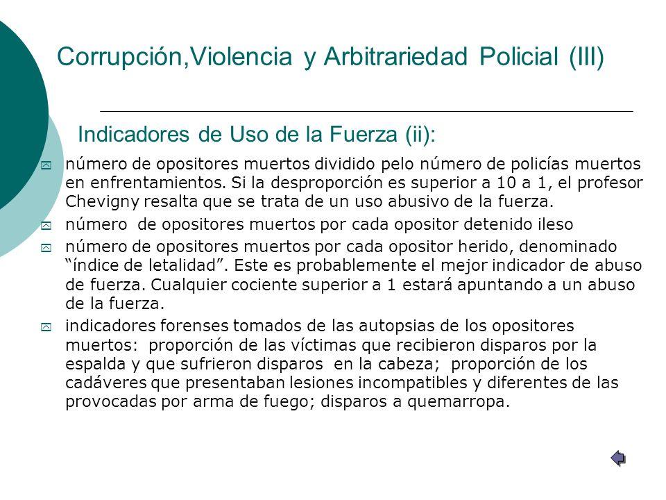 Corrupción,Violencia y Arbitrariedad Policial (III) y número de opositores muertos dividido pelo número de policías muertos en enfrentamientos. Si la