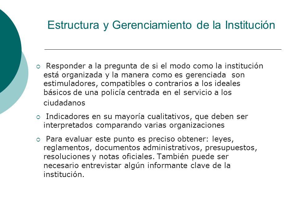 Estructura y Gerenciamiento de la Institución Responder a la pregunta de si el modo como la institución está organizada y la manera como es gerenciada