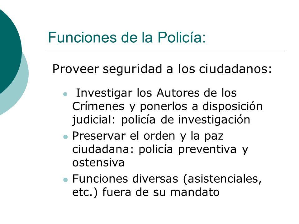 Funciones de la Policía: Proveer seguridad a los ciudadanos: Investigar los Autores de los Crímenes y ponerlos a disposición judicial: policía de inve