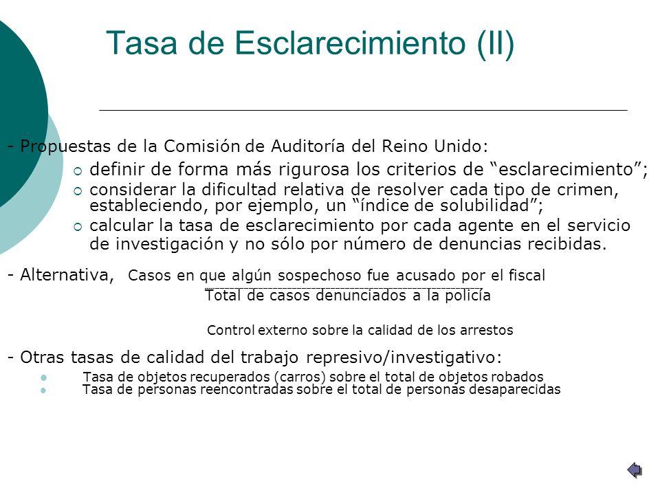 Tasa de Esclarecimiento (II) - Propuestas de la Comisión de Auditoría del Reino Unido: definir de forma más rigurosa los criterios de esclarecimiento;