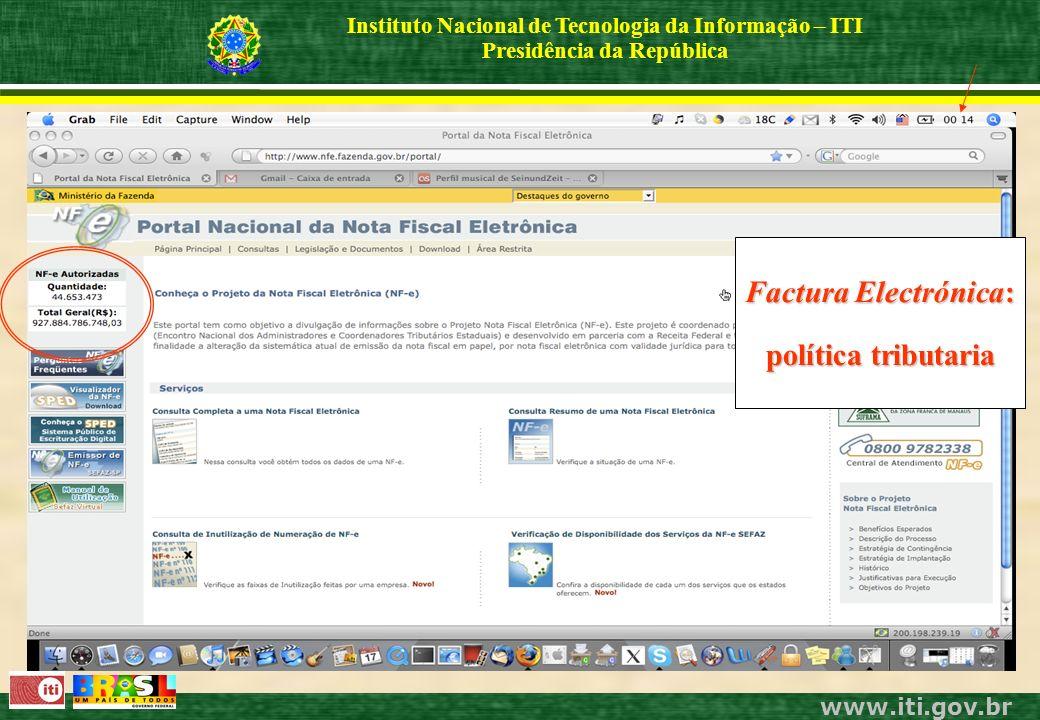 www.iti.gov.br Instituto Nacional de Tecnologia da Informação – ITI Presidência da República Factura Electrónica: política tributaria