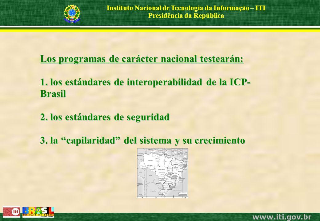 www.iti.gov.br Instituto Nacional de Tecnologia da Informação – ITI Presidência da República Los programas de carácter nacional testearán: 1.