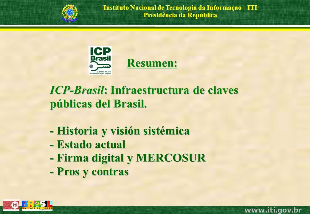 www.iti.gov.br Instituto Nacional de Tecnologia da Informação – ITI Presidência da República Resumen: ICP-Brasil: Infraestructura de claves públicas del Brasil.