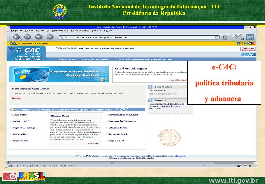 www.iti.gov.br Instituto Nacional de Tecnologia da Informação – ITI Presidência da República e-CAC: política tributaria y aduanera