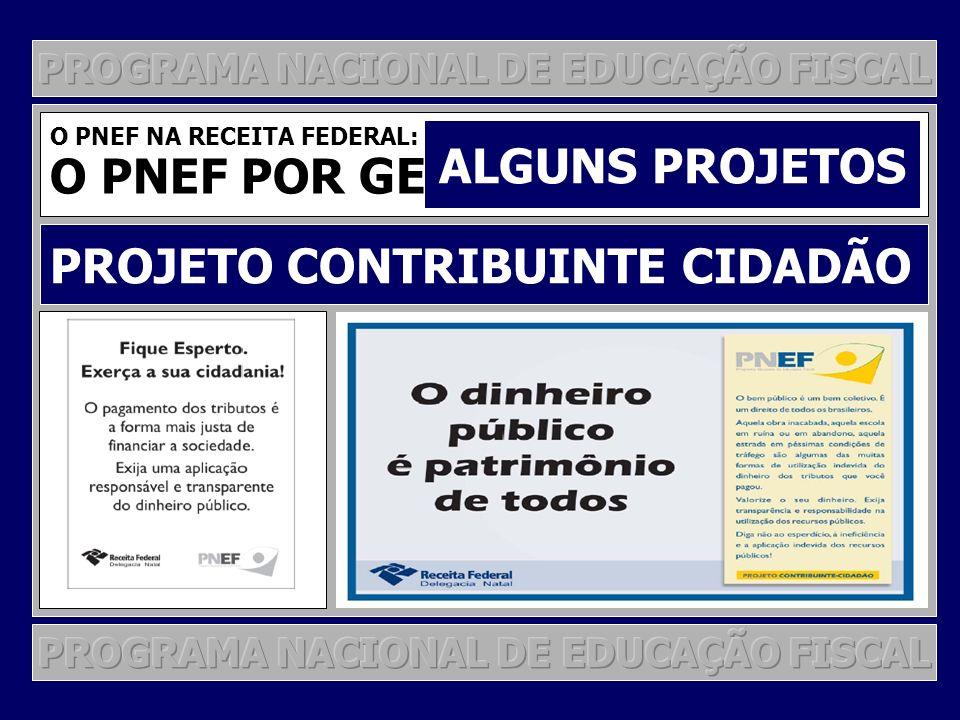 O PNEF NA RECEITA FEDERAL: O PNEF POR GESTÃO DE PROJETOS ALGUNS PROJETOS PROJETO CONTRIBUINTE CIDADÃO
