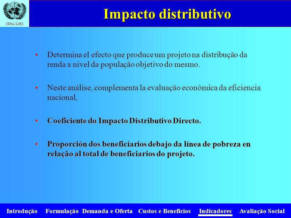 CEPAL/ILPES Introdução Formulação Demanda e Oferta Custos e Beneficios Indicadores Avaliação Social Determina el efecto que produce um projeto na dist