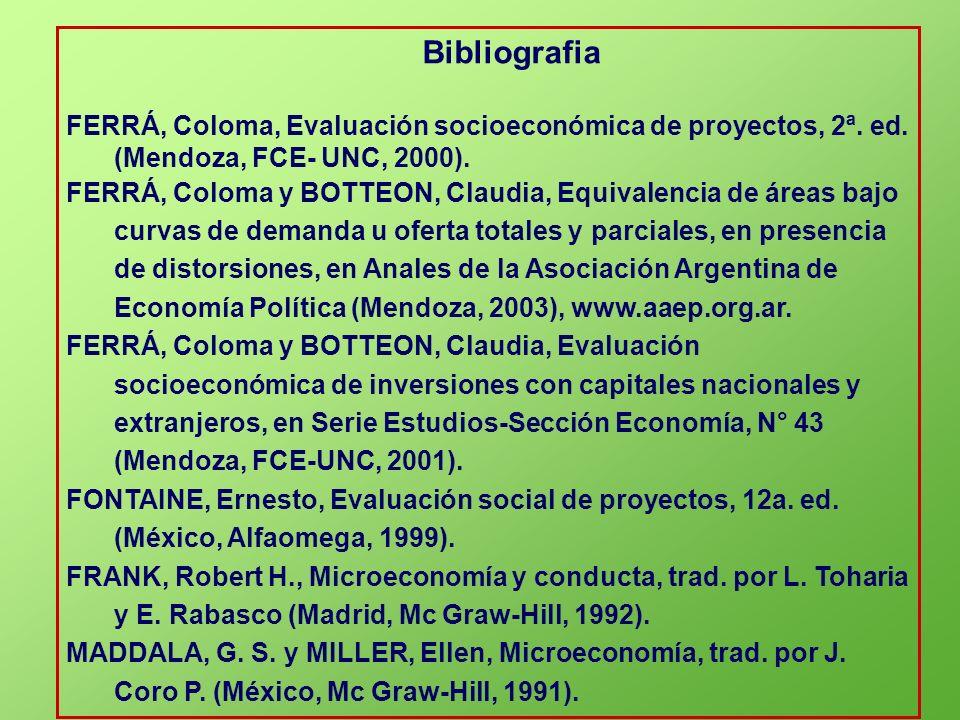 Bibliografia FERRÁ, Coloma, Evaluación socioeconómica de proyectos, 2ª. ed. (Mendoza, FCE- UNC, 2000). FERRÁ, Coloma y BOTTEON, Claudia, Equivalencia