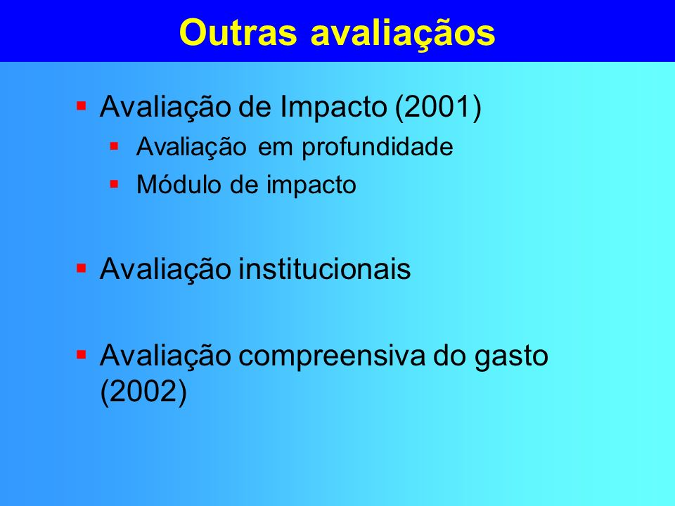 Outras avaliaçãos Avaliação de Impacto (2001) Avaliação em profundidade Módulo de impacto Avaliação institucionais Avaliação compreensiva do gasto (2002)