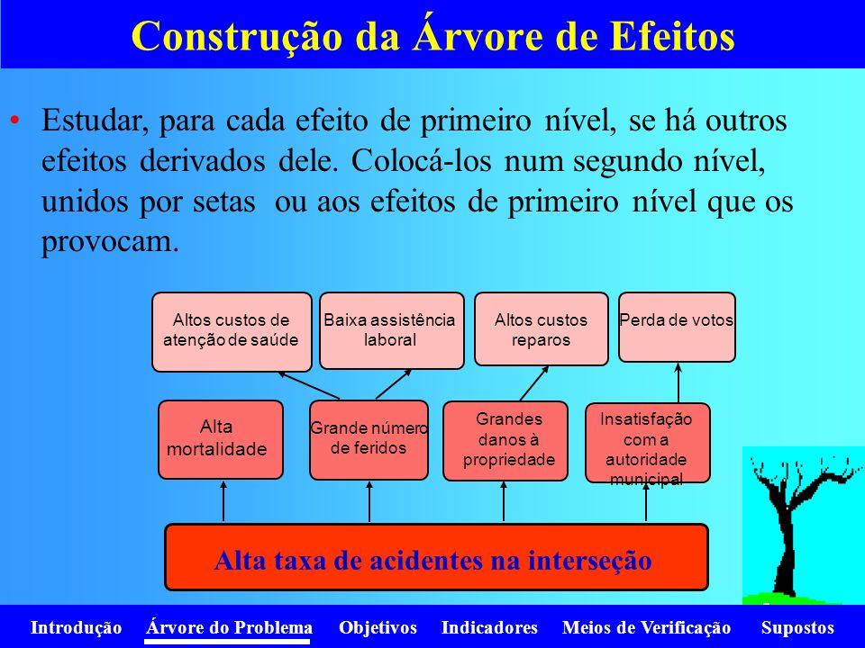 Introdução Árvore do Problema Objetivos Indicadores Meios de Verificação Supostos Estudar, para cada efeito de primeiro nível, se há outros efeitos de
