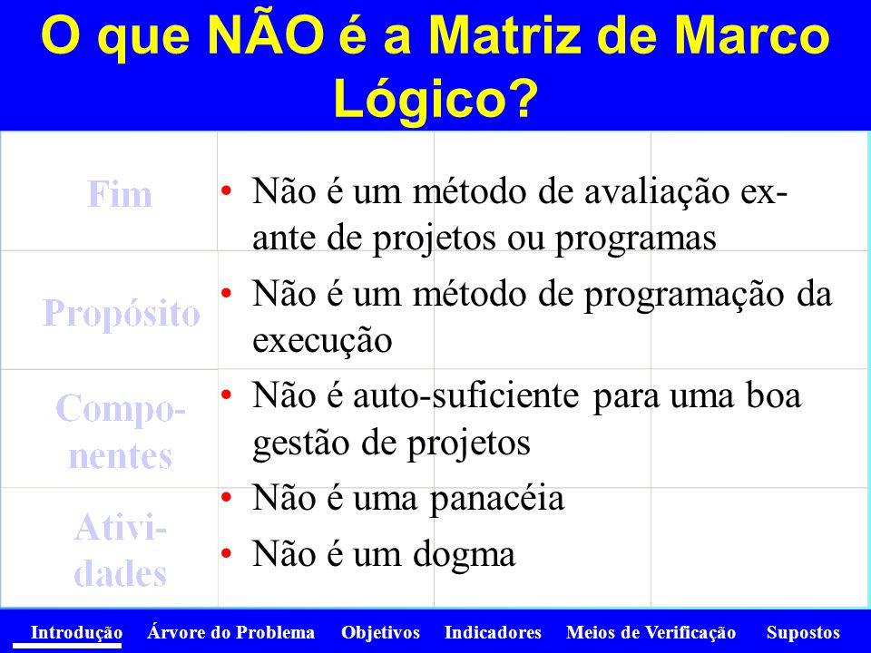 Introdução Árvore do Problema Objetivos Indicadores Meios de Verificação Supostos Se não se prepara bem um projeto …..