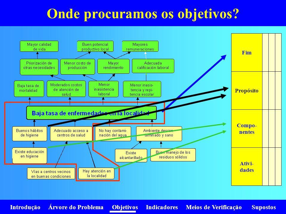 Introdução Árvore do Problema Objetivos Indicadores Meios de Verificação Supostos Onde procuramos os objetivos? Fim Propósito Compo- nentes Ativi- dad