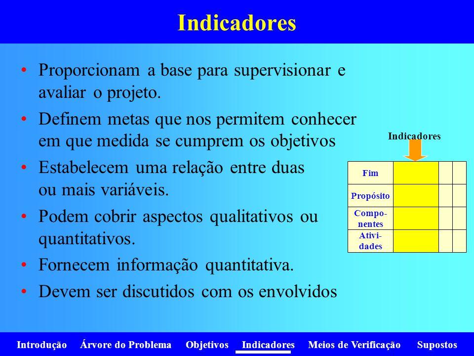 Introdução Árvore do Problema Objetivos Indicadores Meios de Verificação Supostos Indicadores Proporcionam a base para supervisionar e avaliar o proje