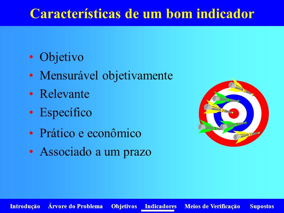 Introdução Árvore do Problema Objetivos Indicadores Meios de Verificação Supostos Características de um bom indicador Objetivo Mensurável objetivament