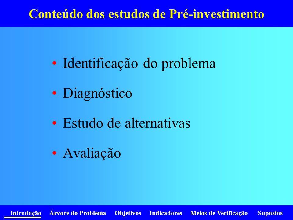 Introdução Árvore do Problema Objetivos Indicadores Meios de Verificação Supostos Conteúdo dos estudos de Pré-investimento Identificação do problema D
