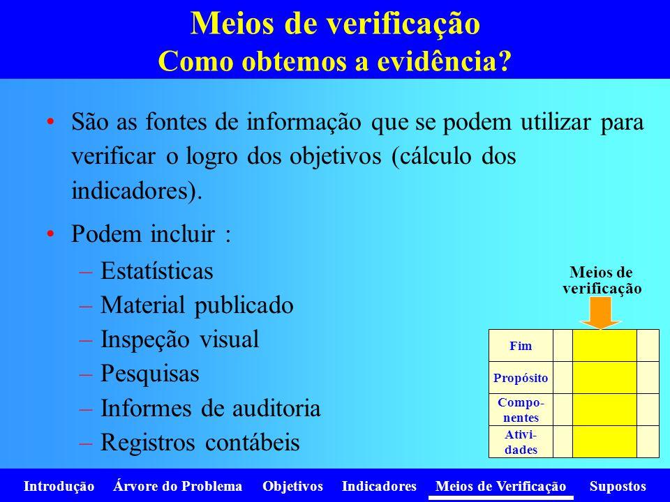 Meios de verificação Como obtemos a evidência? São as fontes de informação que se podem utilizar para verificar o logro dos objetivos (cálculo dos ind