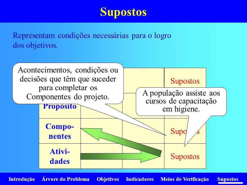 Introdução Árvore do Problema Objetivos Indicadores Meios de Verificação Supostos Representam condições necessárias para o logro dos objetivos. Supost