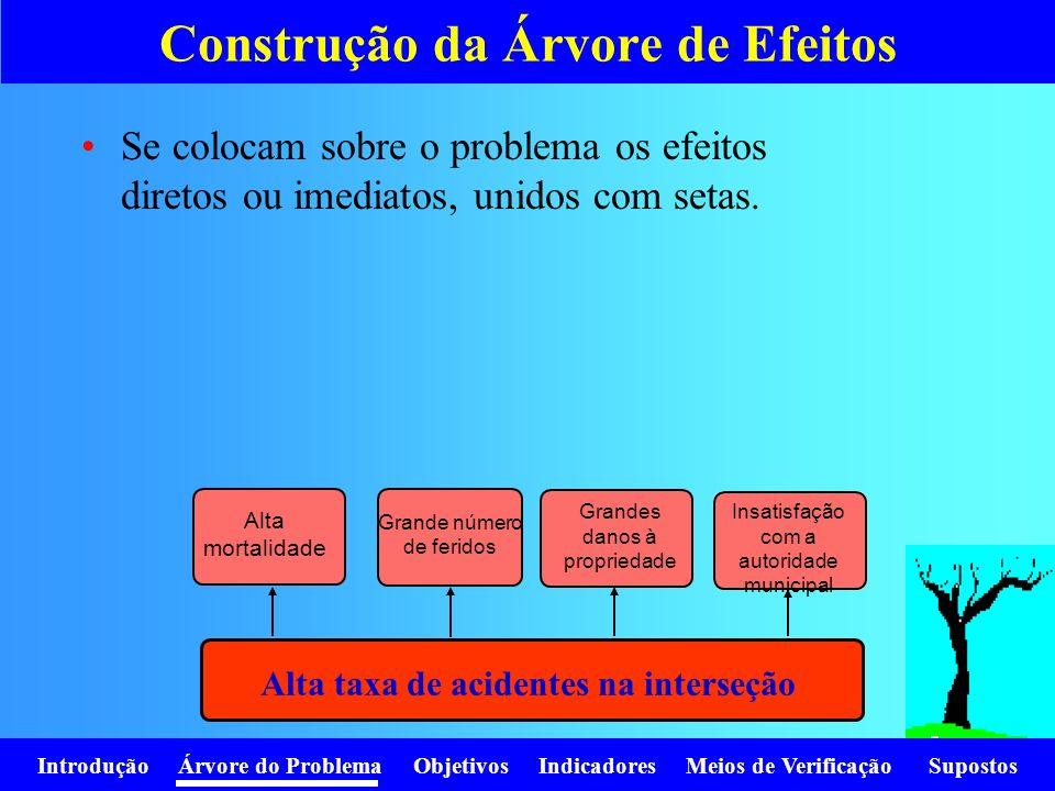 Introdução Árvore do Problema Objetivos Indicadores Meios de Verificação Supostos Estudar, para cada efeito de primeiro nível, se há outros efeitos derivados dele.