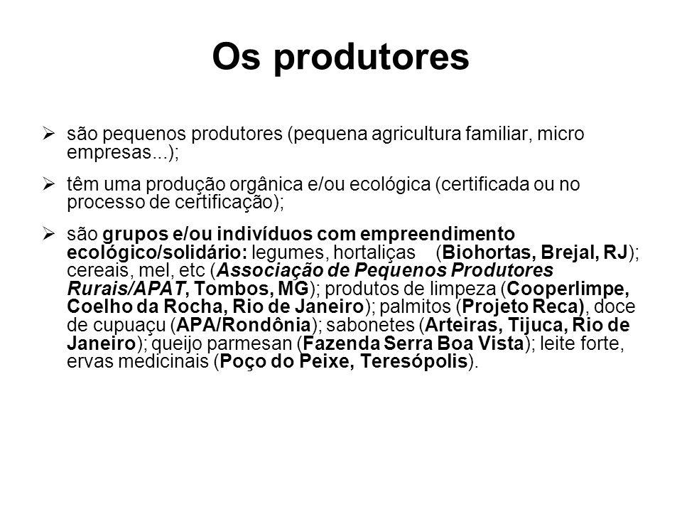 Os produtores são pequenos produtores (pequena agricultura familiar, micro empresas...); têm uma produção orgânica e/ou ecológica (certificada ou no p