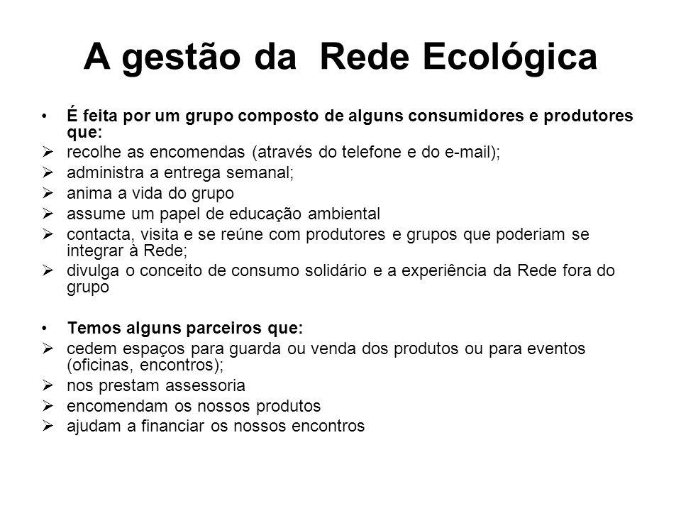 A gestão da Rede Ecológica É feita por um grupo composto de alguns consumidores e produtores que: recolhe as encomendas (através do telefone e do e-ma