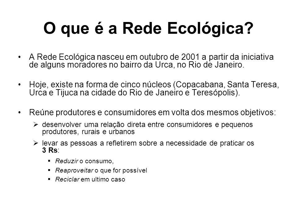 O que é a Rede Ecológica? A Rede Ecológica nasceu em outubro de 2001 a partir da iniciativa de alguns moradores no bairro da Urca, no Rio de Janeiro.