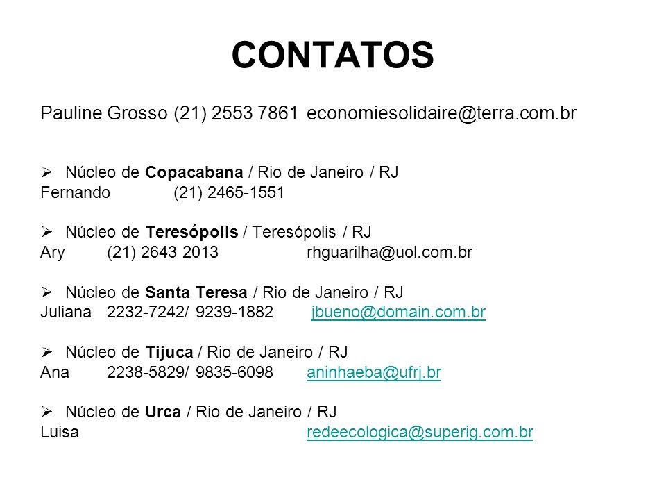 CONTATOS Pauline Grosso(21) 2553 7861economiesolidaire@terra.com.br Núcleo de Copacabana / Rio de Janeiro / RJ Fernando (21) 2465-1551 Núcleo de Teres