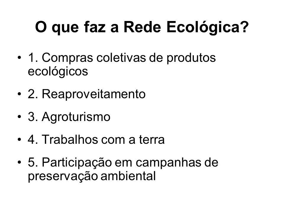 O que faz a Rede Ecológica? 1. Compras coletivas de produtos ecológicos 2. Reaproveitamento 3. Agroturismo 4. Trabalhos com a terra 5. Participação em