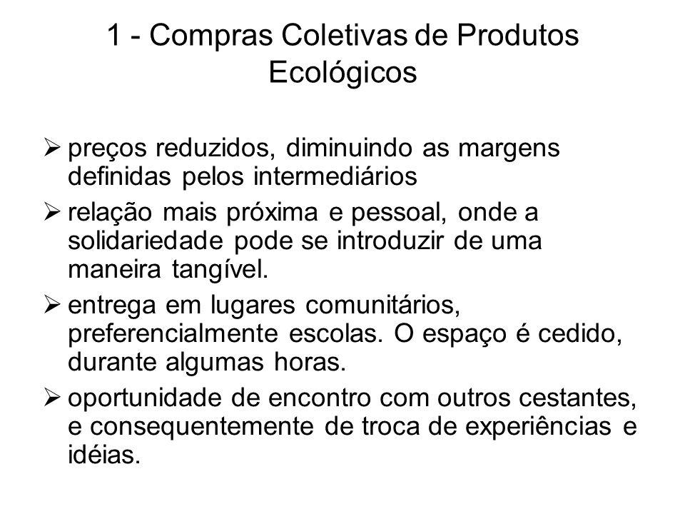 1 - Compras Coletivas de Produtos Ecológicos preços reduzidos, diminuindo as margens definidas pelos intermediários relação mais próxima e pessoal, on